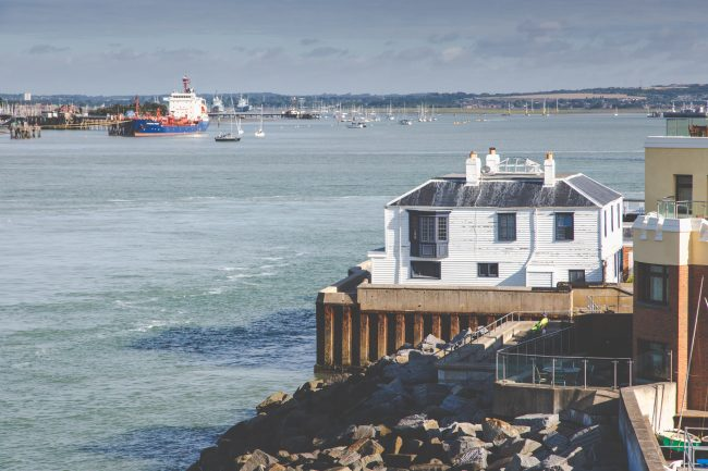 View of the Customs House and Portsmouth Harbour from The Round Tower roof